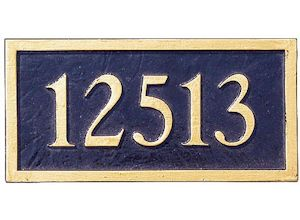 Address numbers on a plaque